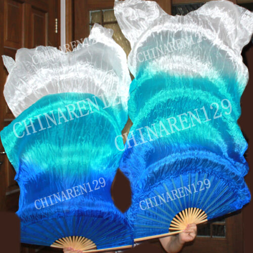 CARRY BAG PAIRS 1.5M BELLY DANCE 100/% SILK FAN VEILS MULTICOLOR FREE SHIPPING