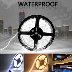 5-M-LED-luz-de-tira-5050-SMD-300-LED-Blanco-Blanco-Calido-12-V-IP65-Impermeable