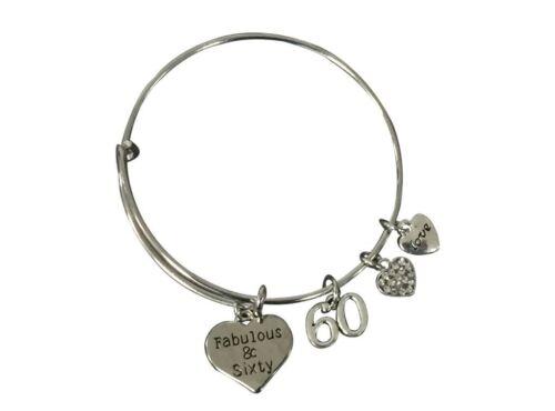 Adjustable Bangle 60th Birthday Gifts for Women 60th Birthday Charm Bracelet