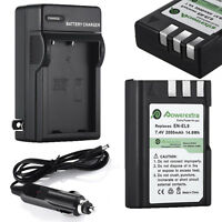 Battery + Charger En-el9 En-el9a Mh-23 For Nikon D40x D40 D60 D5000 D3000 Usa