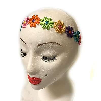 NEW Fabric white daisy chain elastic garland browband headband festivals holiday