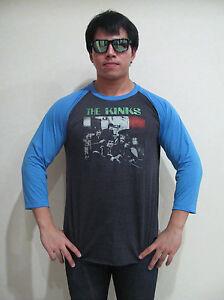 The-Kinks-Band-80-039-s-Tour-Concert-Men-039-s-Raglan-T-Shirt-Gray-Graphic-Tee-Bunny