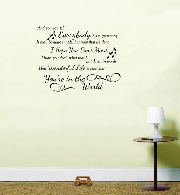 Ellie Goulding Elton John Your Song Music Vinyl Sticker Wall Art Lounge Bedroom