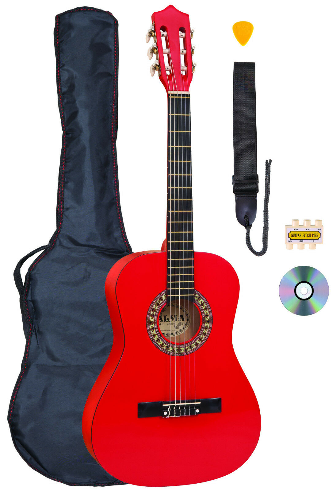 Palma 3 4 Größe Rot Klassische Gitarre Set Ink Tasche, Saiten und Stimmpfeife