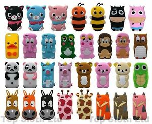 Cartoon Animal 3D Silicone Cute Phone Case Cover Skin Tpu For iPhone 4 5 6 SE 7 | eBay