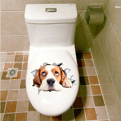 Hole View Vivid Dog 3d Wall Toilet Living Room Kitchen Decoration Sticker Ebay