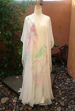 Vintage 1960's Gown/Maxi Dress~Hand-Painted Chiffon~Goddess/Boho/Wedding!