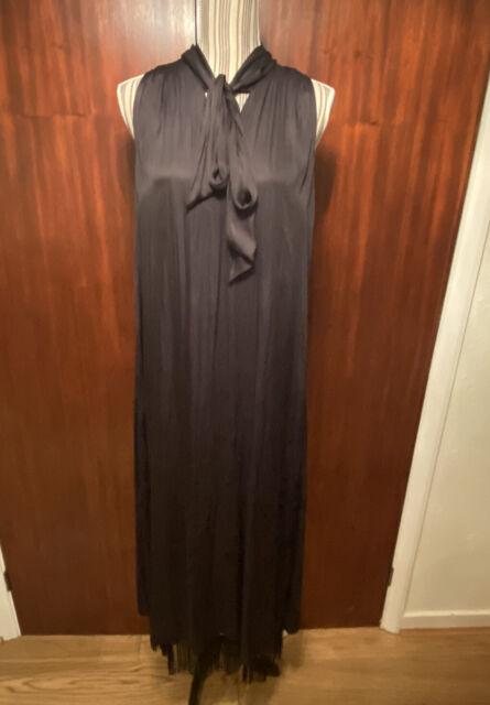 Massimo Dutti black Soft satin Fringed Hem maxi sleeveless Dress. Size XS