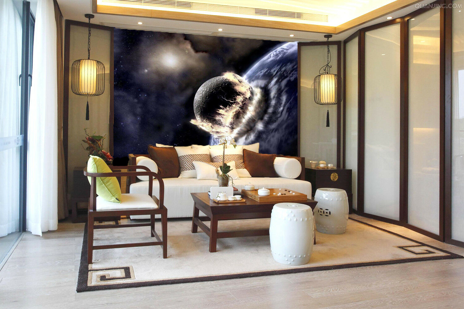 3D Planet Collision Earth 451 Wall Paper Wall Print Decal Wall Deco Indoor Mural