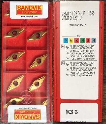 10pcs 1-UF 1525-1 Factory pack 1.5 Sandvik VBMT 11 02 04-UF // VBMT 2