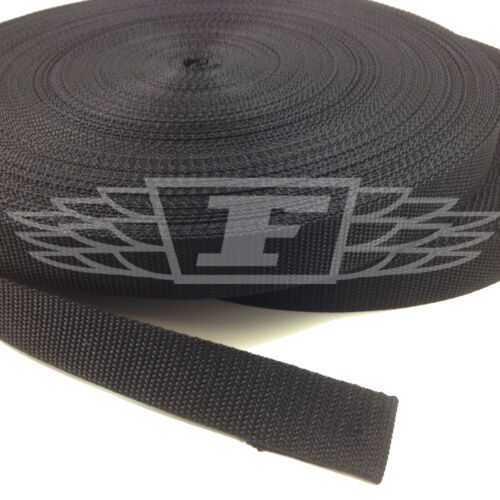 50 meters BLACK 25mm 50mm POLYPROPYLENE WEBBING STRAPPING BAGS STRAPS WEAVE