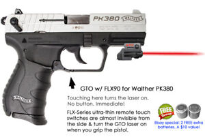 Details about ArmaLaser GTO RED Laser for Walther PK380 w/ Rail + FLX90  Grip Touch On/Off