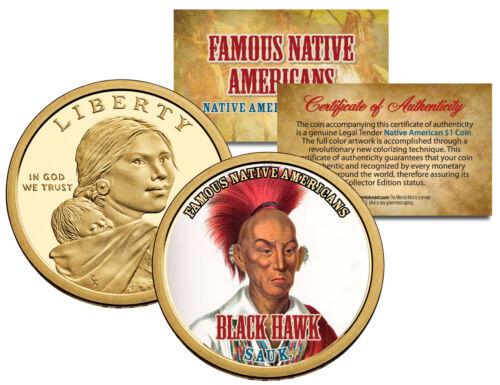 BLACK HAWK *Famous Native Americans* Sacagawea Dollar Colorized Coin SAUK Indian