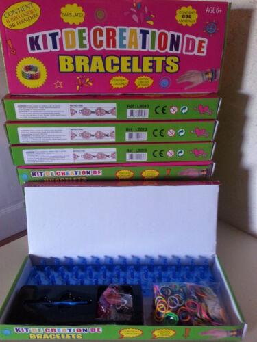 métier 30 fermoirs crochet 10 x 1 kit de création de bracelets,600 élastiques
