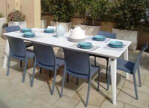 Set Tavolo Allungabile Giardino Resina Bianco 160 240x100 8sedie Bar Esterno Ebay