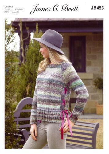 Marble Chunky Knitting Pattern Ladies Long Sleeved Sweater James Brett JB453