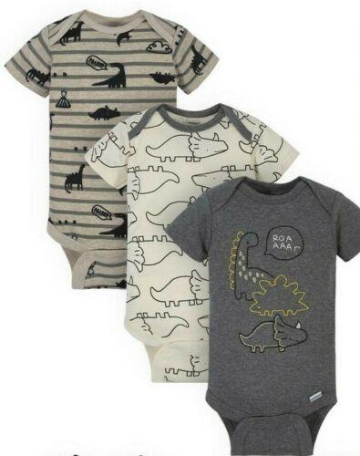 Gerber Baby Boys 3 Pack Organic Onesies Various Sizes NEW Bodysuits Dino