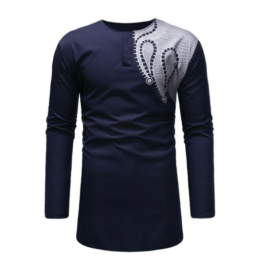 US Men/'s Autumn Winter Luxury African Print Long Sleeve Dashiki Shirt Top Blouse