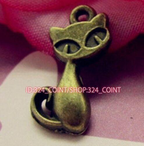 P985 20pc Antique Bronze cat Pendant Bead Charms accessories wholesale