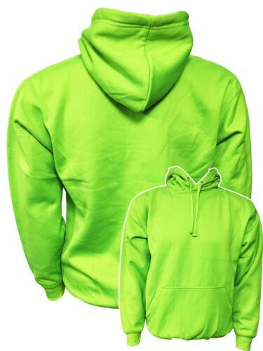 ORANGE HI VIS VIZ PINK SUPER BRIGHT KIDS NEON YELLOW GREEN ELECTRIC HOODIE