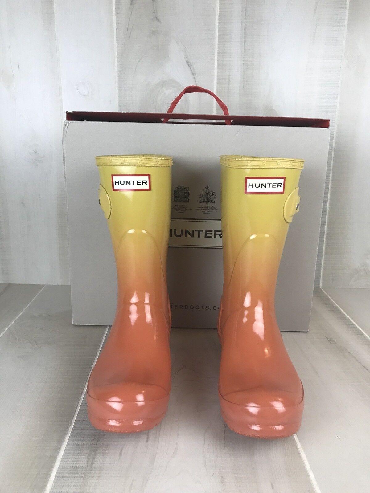 HUNTER Original Short Rainboots Clear Clear Clear Sunset Haze Size 6 orange Yellow f2ba5e