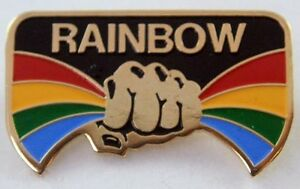 RAINBOW-039-RISING-039-VINTAGE-ENAMEL-LAPEL-BADGE