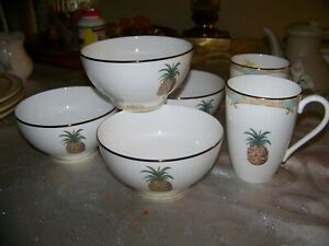 6-pc-LOT-Lenox-British-Colonial-Bamboo-4-Rice-Bowls-AND-2-Mugs-4-with-stickers
