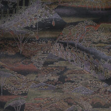 Japanese vintage kimono silk fabric The Samurai`s Procession