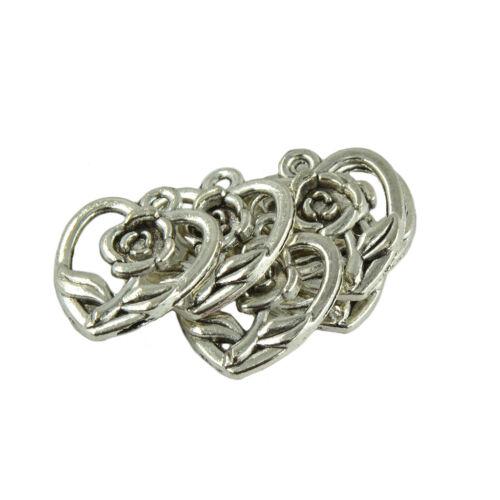 50 Pcs Novelty Fashion Rose Love Heart Shaped Silver Pendant for DIY Making