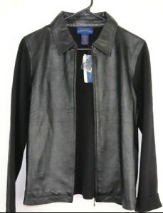 Charter-Club-Womens-NWT-Faux-Leather-Front-Zip-Jacket-Size-L