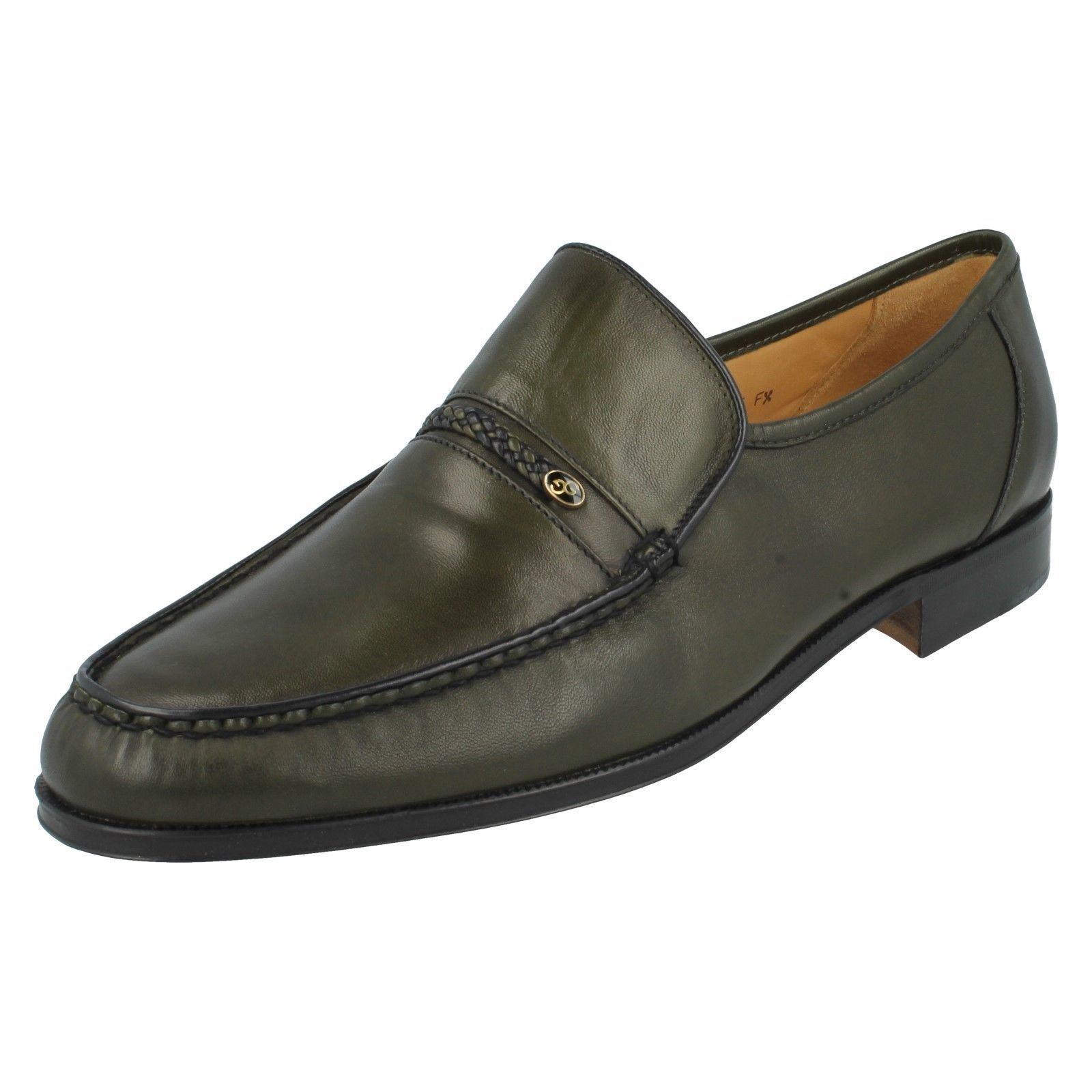Mens Olive Leather Grenson Slip Ons- Lamb Nappa  - Great Price.