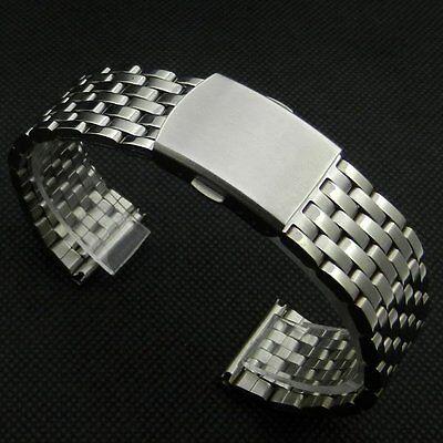 Silver 18/20/22mm Wrist Watch Band Stainless Steel Strap Bracelet Folding Clasp