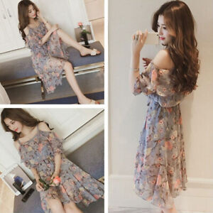 Fashion-Off-shoulder-Korean-Women-Dress-Summer-Casual-Beachwear-Floral-Dress-Hw