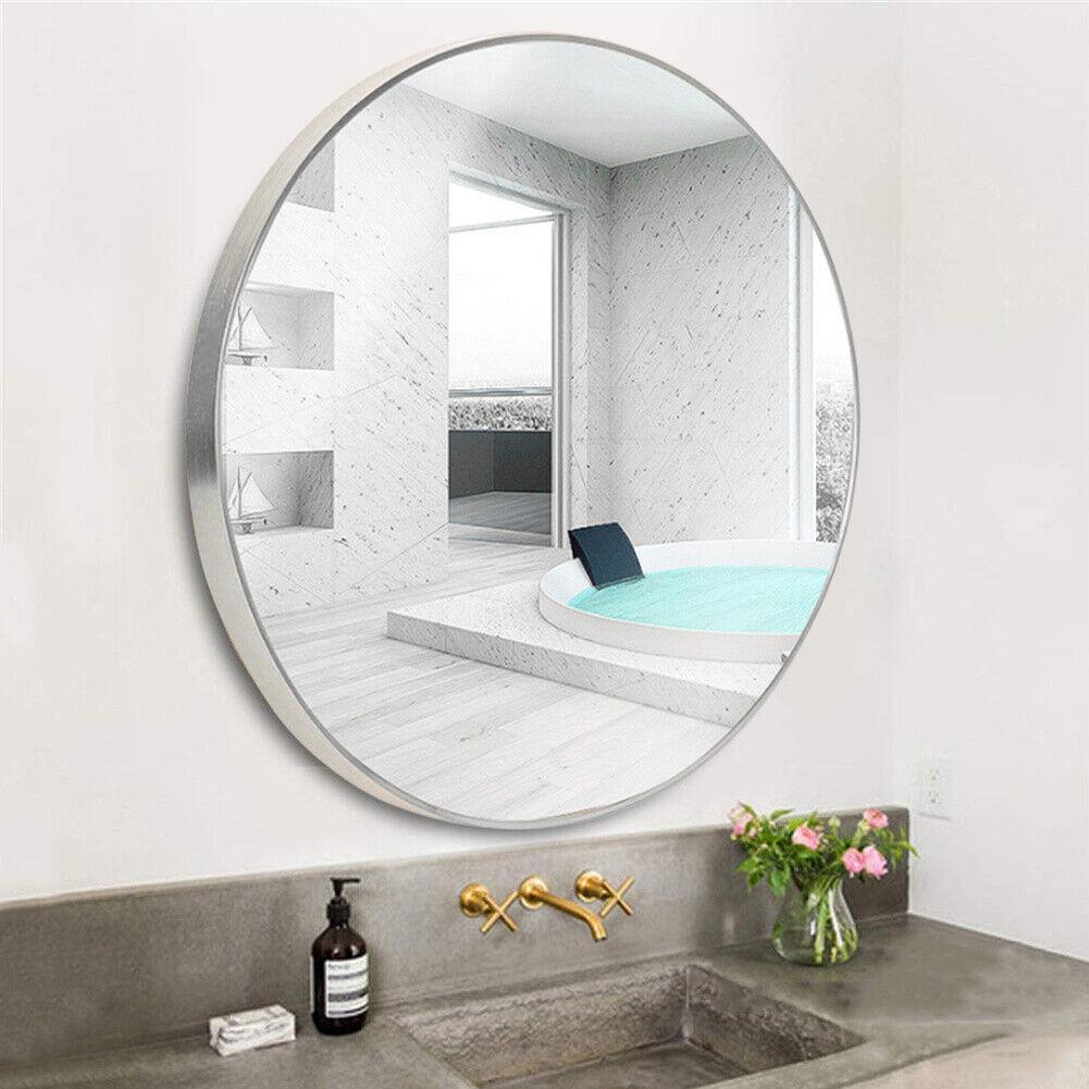 Silver Large Round Mirror Wall Mount Bathroom Vanity Makeup Metal Frame 40-80cm