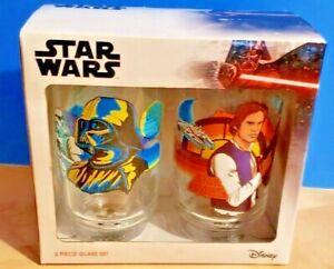 NIB-SEALED-Funko-Disney-Star-Wars-Set-of-Two-16oz-Glasses-Darth-Vader-amp-Han-Solo