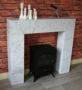 Image Is Loading White Marble Effect Modern Chunky Box Fire Surround