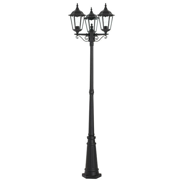 3 Light Lamp Post Die Cast aluminium with a Matt schwarz Finish IP44