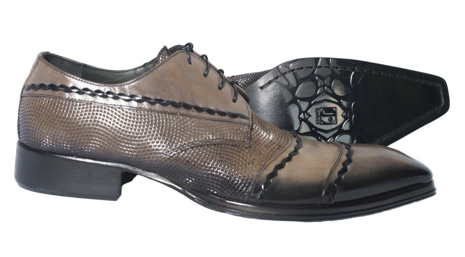 Jo Ghost 460M Italian mens taupe/grey lace up shoes with black color design
