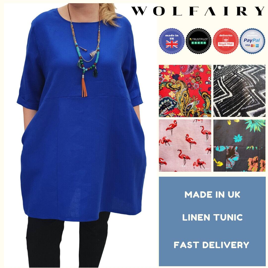 Wolfairy damen Plus Größe Linen Summer Tunic Top Loose Lagenlook Short Sleeve