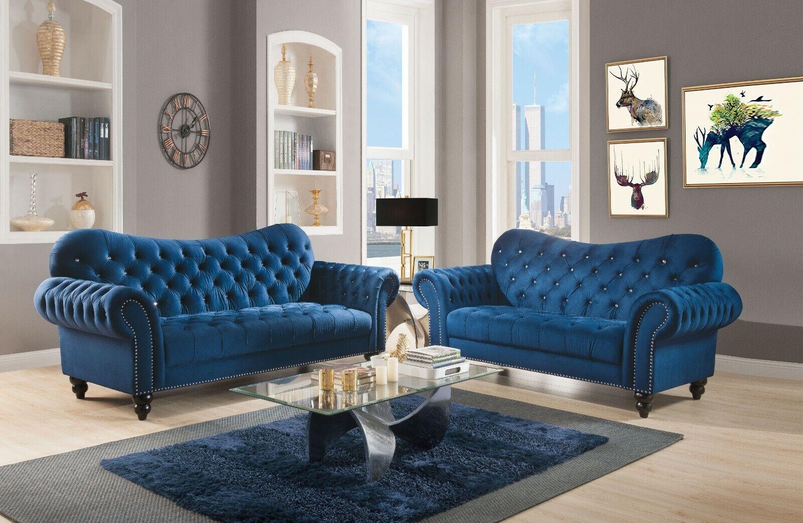 Tov Furniture Norwalk Velvet Sofa Navy