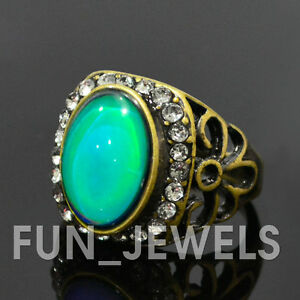 new oval mood ring antique bronze multi colored