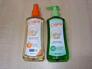 CALYPSO-fattore-30-DRY-OIL-TAN-SPRAY-amp-Aloe-Vera-Dopo-Sole-Gel-Lozione-Crema