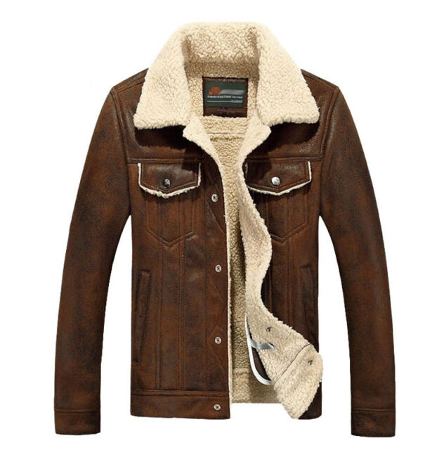 NEW Mens Business Fleece Soft Leather Vintage Biker Fur Winter Coats Warm Jacket