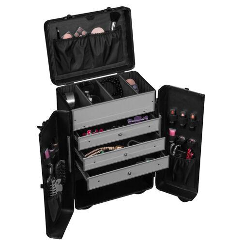 Werkzeugkoffer Trolley Schwarz 45 L Schubladen verschließbar Präsentationskoffer