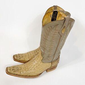 Men-039-s-Cowboy-Western-Boots-Alligator-Crocodile-Exotic-Sz-8-Handmade-USA-El-Paso