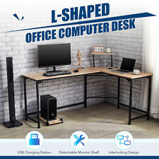 L Shaped Gaming Desk W Charging Station And Monitor Stand 47x19 66x19 Oak Home