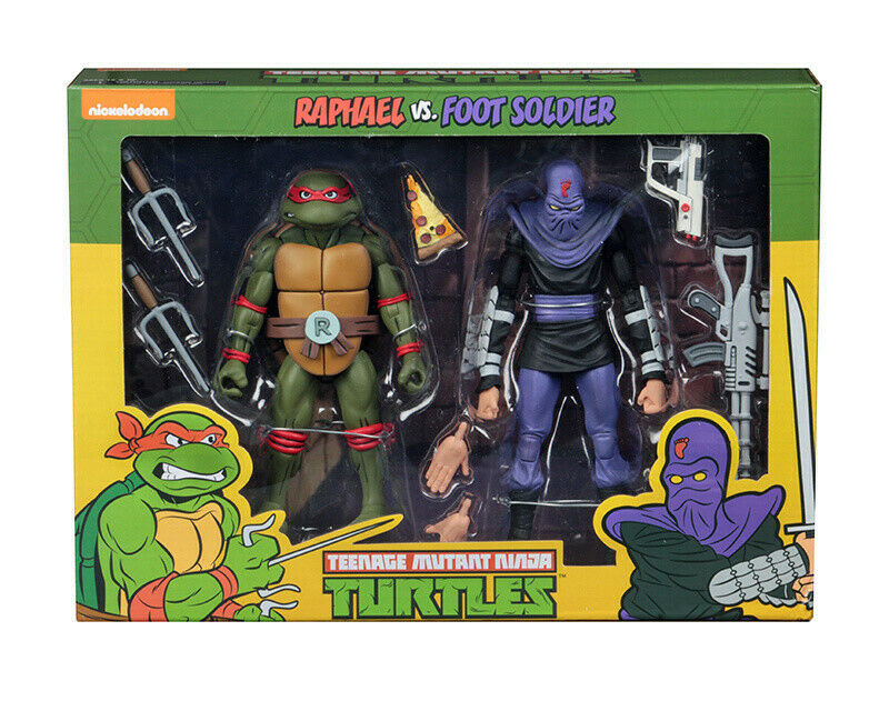 NECA Tmnt dibujos animados Raphael vs pie Solider 2PK (Teenage Mutant Ninja Turtles)