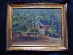 Belle-huile-de-1954-signee-JANSEGERS-034-la-chapelle-a-l-039-oree-du-bois-034