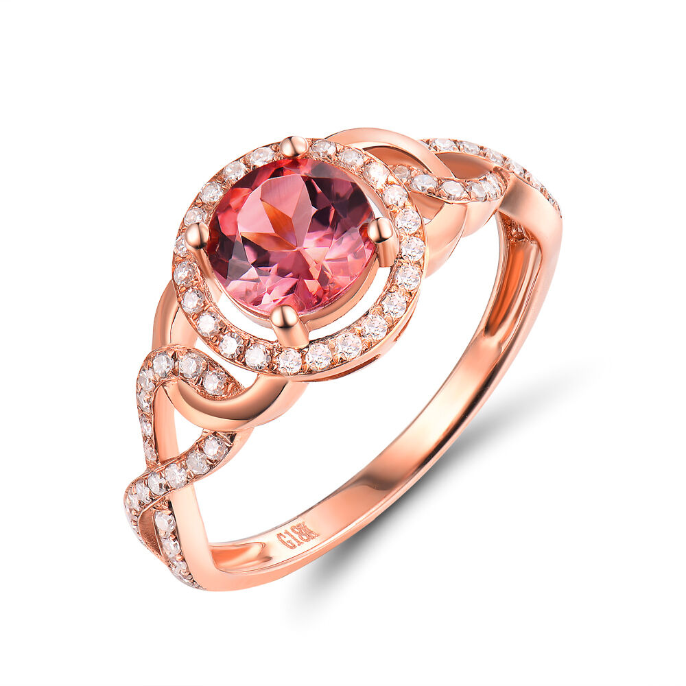 18K pink gold 6mm Round Engagement Ruby & Diamond Fancy Ring Promise Jewelry