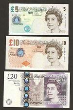 2004 - 06 England £ 5 / £10 / £20 Pounds A . Bailey Signature Set